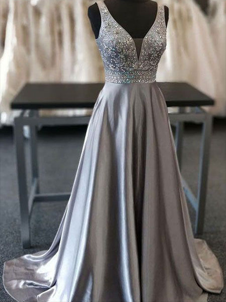Silver Prom Dresses Banquet Gowns Evening Gowns MPD865