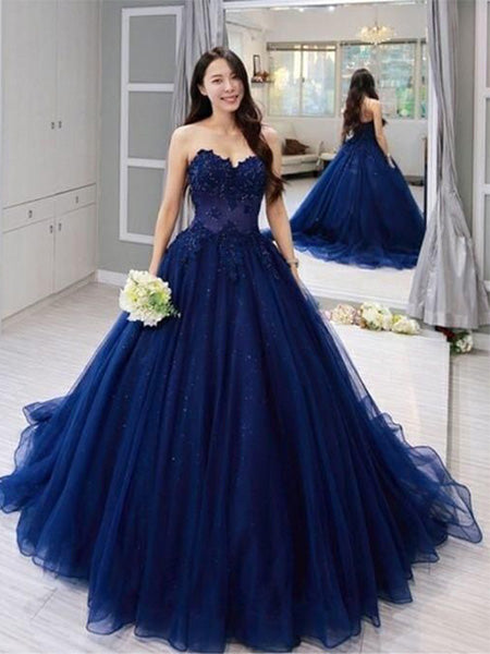 Navy Blue Tulle and Lace Prom Dresses Banquet Gowns Evening Gowns MPD869