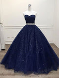 Shiny Navy Blue Prom Dresses Banquet Gowns Evening Gowns MPD878