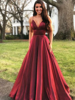 A Line Burgundy Prom Dresses Banquet Gowns Evening Gowns MPD890