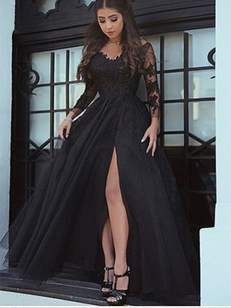 Black Lace Prom Dresses Banquet Gowns Evening Gowns with Long Sleeves MPD895