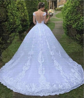 A Line Lace Wedding Dress Bridal Gown Illusion Back Chapel Train MWD002