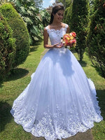 A Line Lace and Tulle Wedding Dress Bridal Gown MWD003