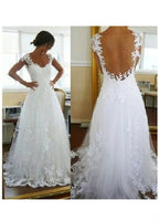 A Line Lace and Tulle Wedding Dress Bridal Gown Illusion Back MWD005