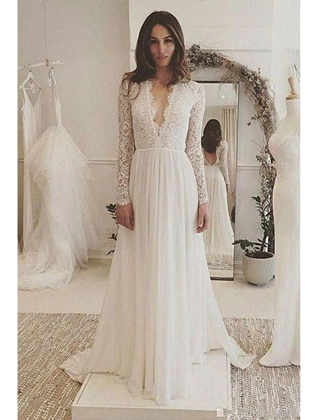 Lace and Tulle Wedding Dress Bridal Gown Open Back V Neckline with Long Sleeves MWD007