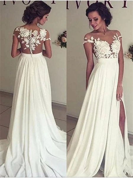 Chiffon and Lace Wedding Dress with Lace Cap Sleeves MWD008