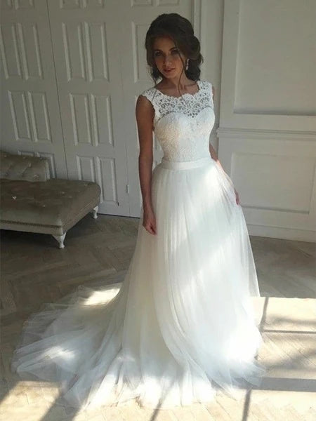 Tulle and Lace Wedding Dress Bridal Gown Lace Up Back MWD013