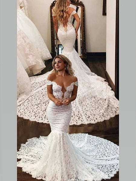 Lace Mermaid Off the Shoulder Wedding Dress Bridal Gown MWD014