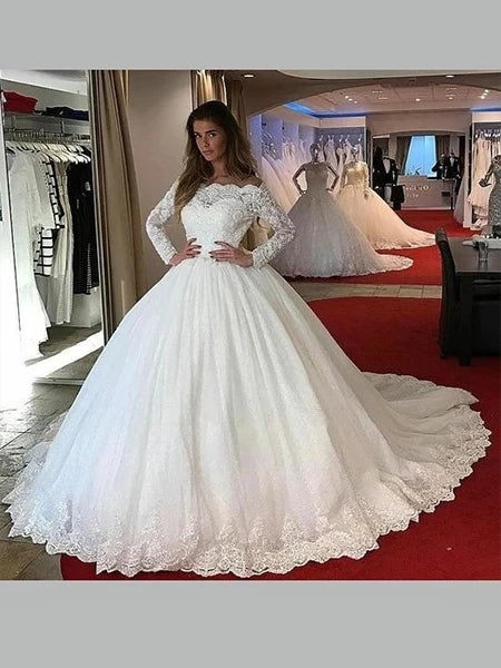 Tulle and Lace Wedding Dress Bridal Gown with Long Sleeves MWD015