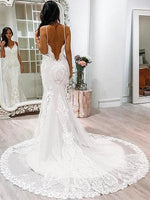 Mermaid Tulle and Lace Wedding Dress with Spaghetti Straps MWD018