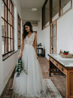 A Line Tulle and Lace Wedding Dress Bridal Gown MWD020