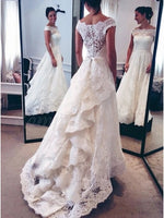 Lace Wedding Dress Bridal Gown Satin Waistband Button Back MWD024