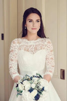 A Line Lace and Organza Wedding Dress Bridal Gown with Sleeves MWD025