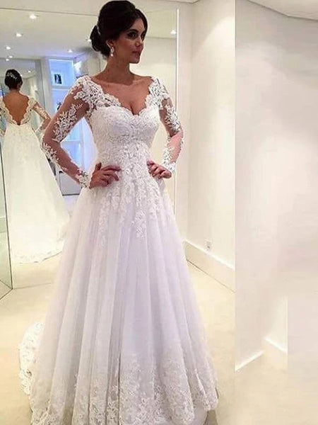A Line Lace Wedding Dress Bridal Gown V Back with Long Sleeves MWD028