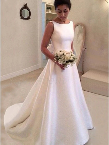 A Line Satin Wedding Dress Bridal Gown V Back MWD030