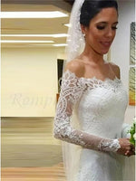 Lace Mermaid Wedding Dress Bridal Gown with Long Sleeves MWD034