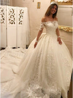 A Line Tulle and Lace Wedding Dress with Long Sleeves MWD037