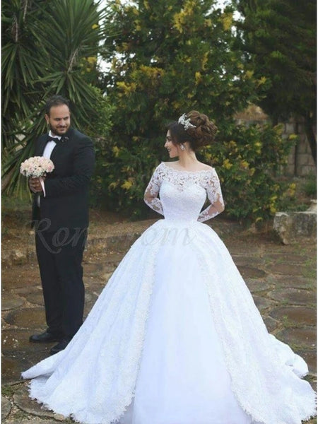 A Line Lace Wedding Dress Bridal Gown with Long Sleeves MWD044