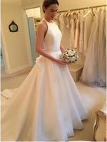A Line Halter Neckline Satin Wedding Dress Bridal Gown MWD045