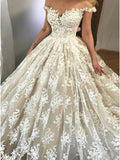 A Line Off the Shoulder Lace Wedding Dress Bridal Gown MWD051