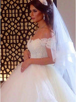 A Line Off the Shoulder Lace and Tulle Wedding Dress Bridal Gown MWD052