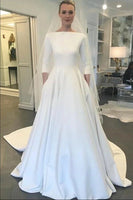A Line Satin Wedding Dress Bridal Gown High Neckline Long Sleeves MWD054
