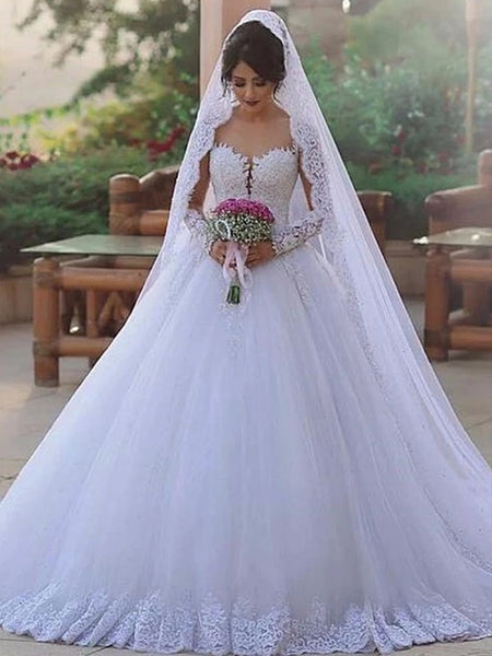 A Line Tulle and Lace Wedding Dress with Long Sleeves MWD056