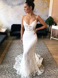 Lace Wedding Dress Bridal Gown with Spaghetti Straps MWD057