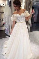 A Line Off the Shoulder Tulle and Lace Wedding Dress MWD061