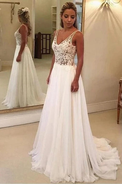 A Line Chiffon and Lace Wedding Dress MWD063