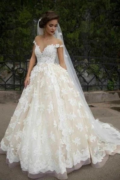 A Line Off the Shoulder Lace Wedding Dress Button Back MWD064
