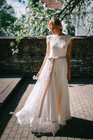 Lace and Chiffon Wedding Dress Bridal Gown MWD065