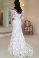 Mermaid Lace Wedding Dress Bridal Gown with Sleeves MWD068