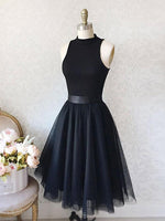 Short Black Chiffon Homecoming Dresses Sweet 16 Dresses LPD004
