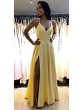 Yellow Prom Dresses Spaghetti Straps Evening Dresses with Slit MPD010