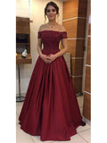 Off the Shoulder Satin and Lace Prom Dresses Evening Dresses MPD015