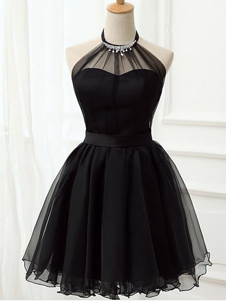Halter Chiffon Black Homecoming Dresses Sweet 16 Dresses MPD022