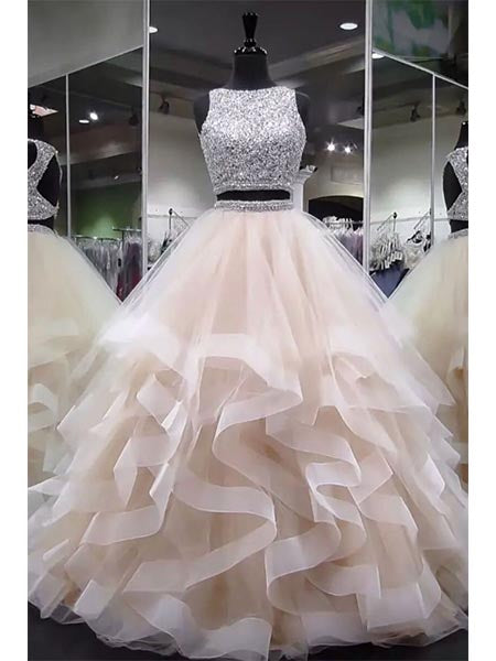 Two Pieces Beaded Tulle Prom Dresses Graduation Party Dresses Evening Dresses MPD024