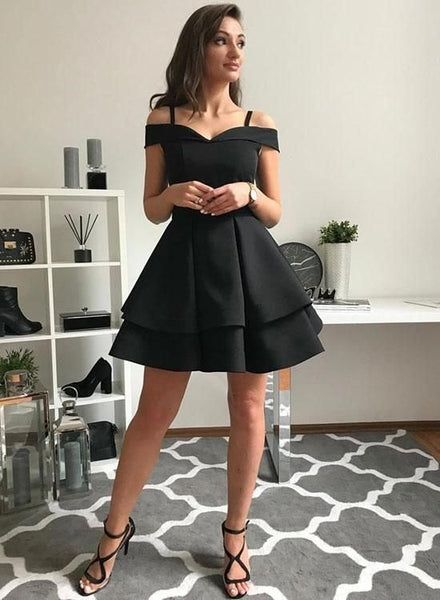 Off the Shoulder Black Homecoming Dress Sweet 16 Dresses MPD025