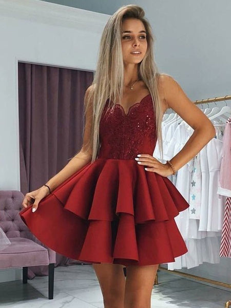 Homecoming Dress Banquet dress with Spaghetti Straps MPD032