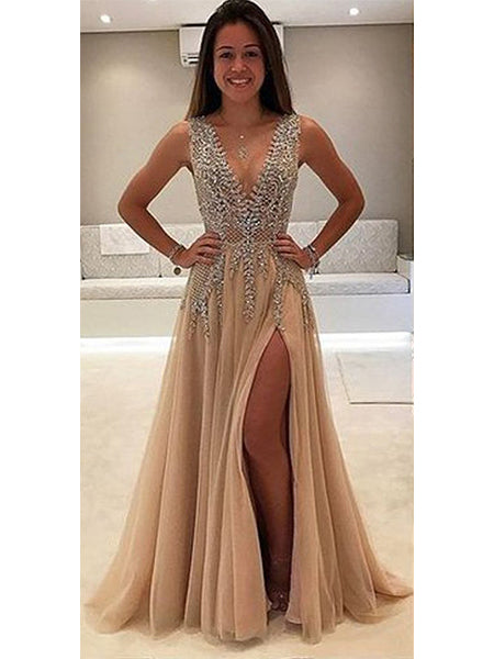 Beaded Tulle Prom Dresses Banquet Dresses Evening Gowns with Straps MPD043