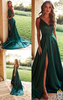 Satin Prom Dresses Banquet Dresses Evening Gowns with Spaghetti Straps MPD044