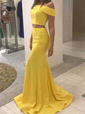 Two Pieces Satin Mermaid Off the Shoulder Prom Dresses Banquet Dresses Evening Gowns MPD046