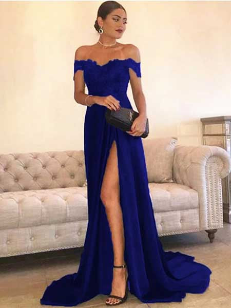 Off the Shoulder Prom Dresses Banquet Dresses Evening Dresses with Slit  MPD055