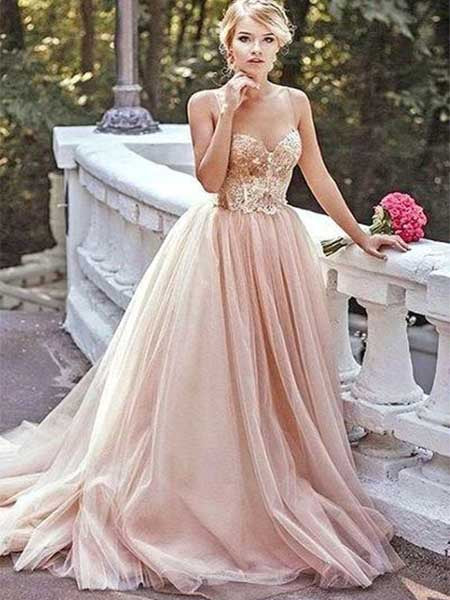 Tulle Prom Dresses Banquet Dresses Evening Dresses with Spaghetti Straps MPD079
