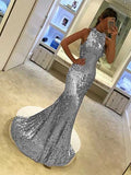Shiny Halter Mermaid Prom Dresses Long Banquet Gown MPD096