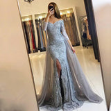 Lace Mermaid Prom Dresses Long Banquet Gown with Long Sleeves MPD100