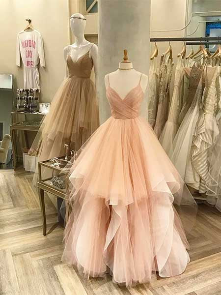 Tulle A Line Prom Dresses Evening Dresses Formal Gowns with Spaghetti Straps MPD101