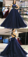 Navy Blue Halter Prom Dresses Banquet Gowns Evening Gowns MPD332