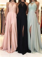 Halter Chiffon Prom Dresses Banquet Gowns Evening Gowns MPD356